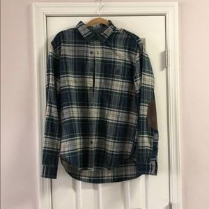 J.crew men's flannel with suede elbow patches